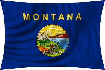 Flag of the US state of Montana waving isolated on white