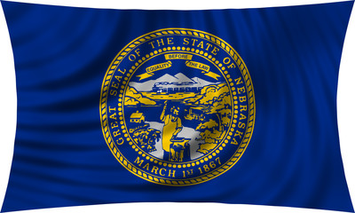 Flag of the US state of Nebraska waving isolated on white