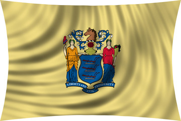 Flag of the US state of New Jersey waving isolated on white