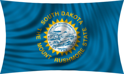 Flag of the US state of South Dakota waving isolated on white