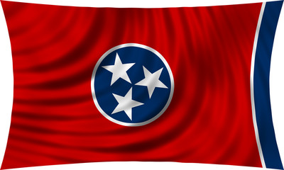 Flag of the US state of Tennessee waving isolated on white