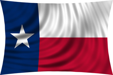 Flag of the US state of Texas waving isolated on white