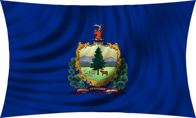 Flag of the US state of Vermont waving isolated on white