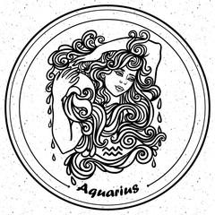 Detailed Aquarius in aztec style