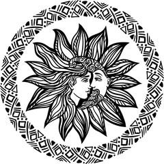 Bohemian hand drawn sun and moon.