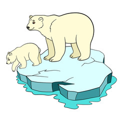 Cartoon animals. Mother polar with her baby.