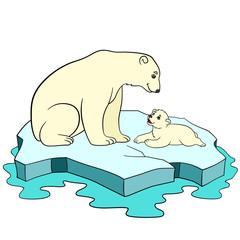 Cartoon animals. Mother polar bear with her baby.
