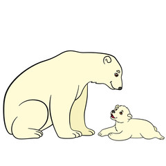 Cartoon animals. Mother polar bear with her baby.