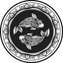 Detailed pisces in aztec style
