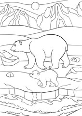 Coloring pages. Mother polar bear walks with her baby.