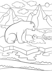 Coloring pages. Mother polar bear with her cute baby.