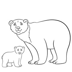 Coloring pages. Mother bear with her cute baby.
