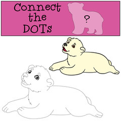 Educational game: Connect the dots. Little cute baby polar bear.