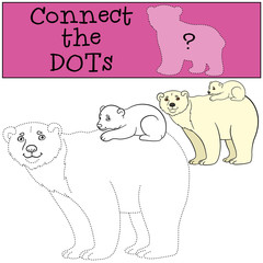 Educational game: Connect the dots. Mother polar bear with baby.