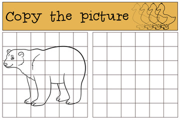 Educational game: Copy the picture. Cute polar bear smiles.
