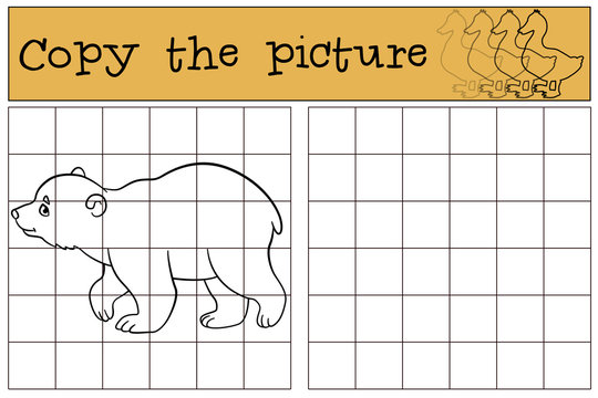 Educational game: Copy the picture. Little cute baby polar bear.