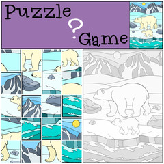 Education game: Puzzle. Mother polar bear with her baby.