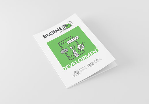 Tech and Development Booklet Layout with Cartoon Style Elements