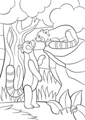 Coloring pages. Two little cute red pandas.