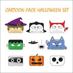 Cartoon face Halloween set. monsters