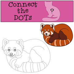 Educational game: Connect the dots. Little cute red panda.