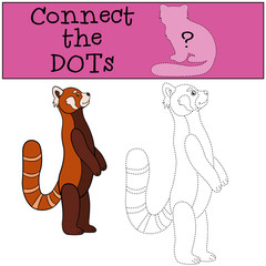 Educational game: Connect the dots. Little cute red panda smiles