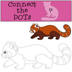 Educational game: Connect the dots. Little cute red panda walks.