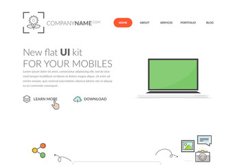 Minimalist Multimedia Website Layout with Hand-Drawn Design Element