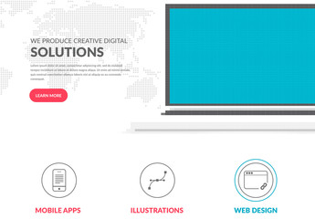 Minimalist Multimedia Website Layout with Pixel Halftone Design Element