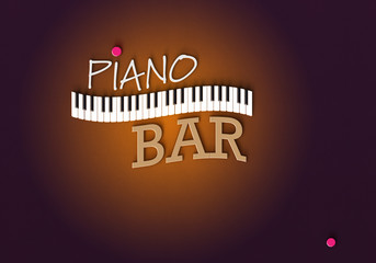 Piano Bar - Typo Logo Tastatur
