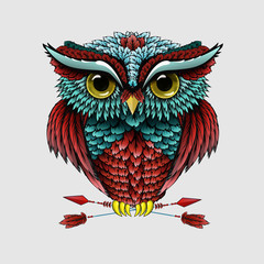 Owl with arrows on a white background. Vector image of a tattoo
