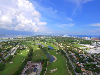 Aerial golf course miami beach