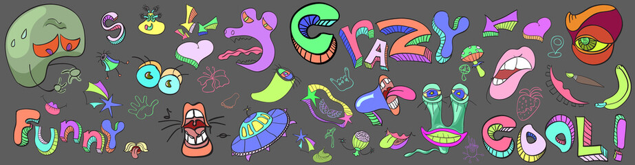 Set comic colorful characters, alien, products, organisms letters. Vector sketch