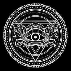 Blackwork tattoo Eye of Providence.
