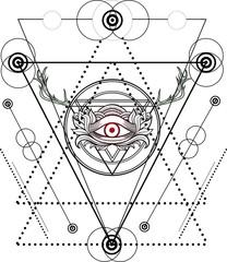 Blackwork tattoo Eye of Providence.