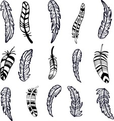Vintage tribal doodle zentangle feathers