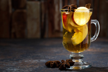 hot apple tea with spices