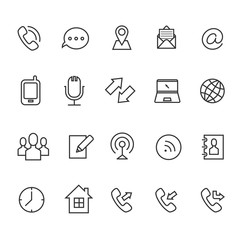 Communication line vector icons for business card