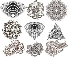 Third eye, mandala,floral filigree elements.