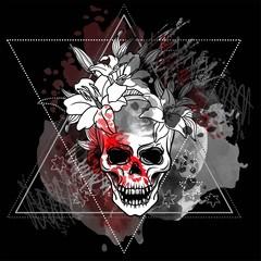 Photo sur Toile Crâne aquarelle Trash skull with blood splatter
