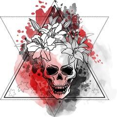 Foto auf Acrylglas Aquarell Schädel Trash skull with blood splatter