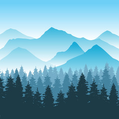 Abstract hiking adventure vector background with mountain and forest