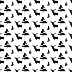 Christmas seamless pattern with deers and pine trees.