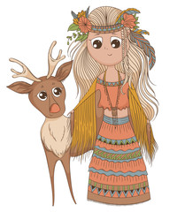 Cute anime girl in ethnic clothes with deer. Cartoon character in boho style. Vector illustration