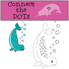 Educational game: Connect the dots. Little cute lady narwhal.