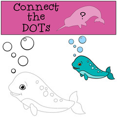 Educational game: Connect the dots. Little cute baby narwhal.