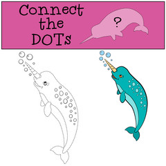 Educational game: Connect the dots. Little cute narwhal smiles.