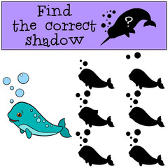 Educational game: Find the correct shadow. Little cute baby narw