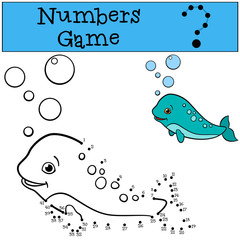 Educational game: Numbers game. Little cute baby narwhal.