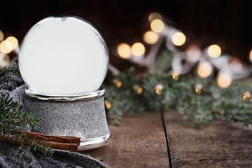 Rustic Empty Silver Snow Globe